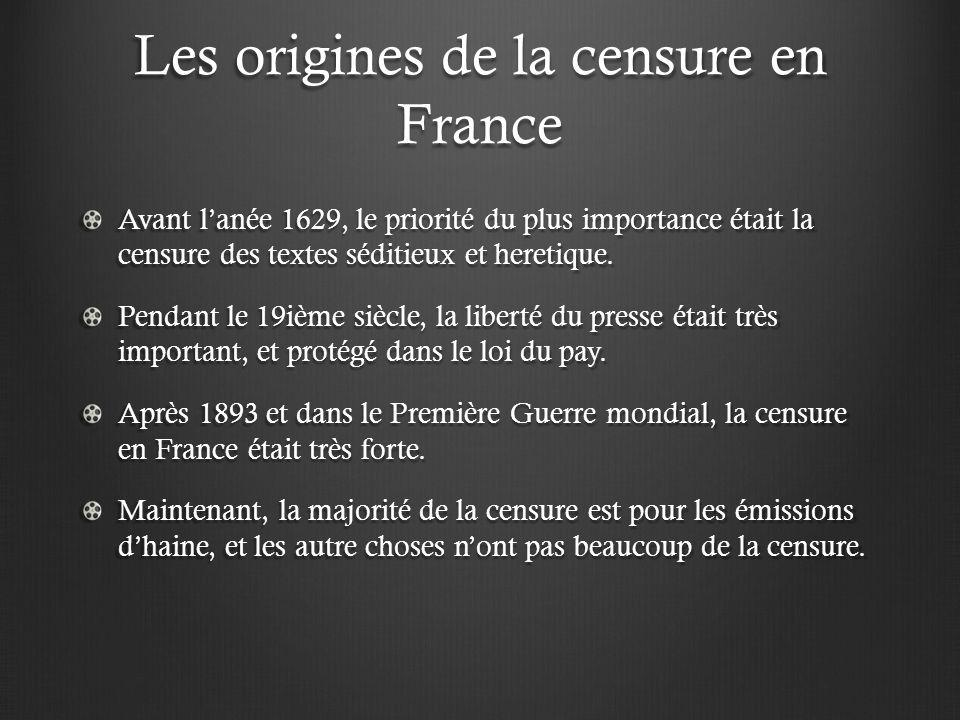 Les origines de la censure en France