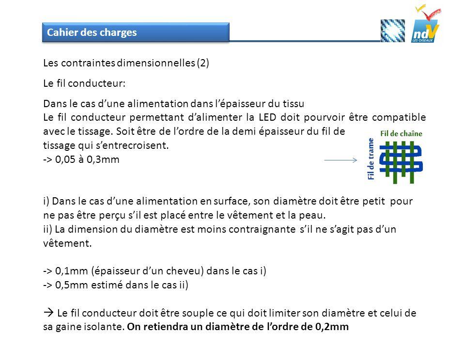 Cahier des charges Les contraintes dimensionnelles (2) Le fil conducteur: Dans le cas d'une alimentation dans l'épaisseur du tissu.