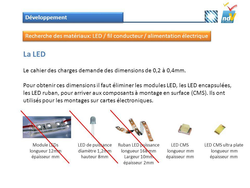 Développement Recherche des matériaux: LED / fil conducteur / alimentation électrique. La LED.