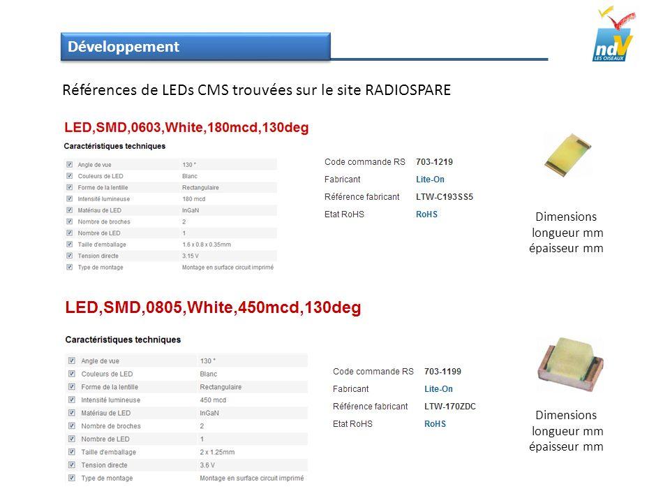 Références de LEDs CMS trouvées sur le site RADIOSPARE