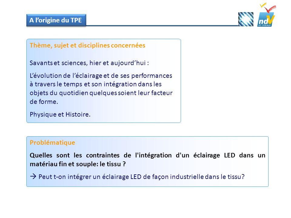 A l'origine du TPE Thème, sujet et disciplines concernées. Savants et sciences, hier et aujourd'hui :