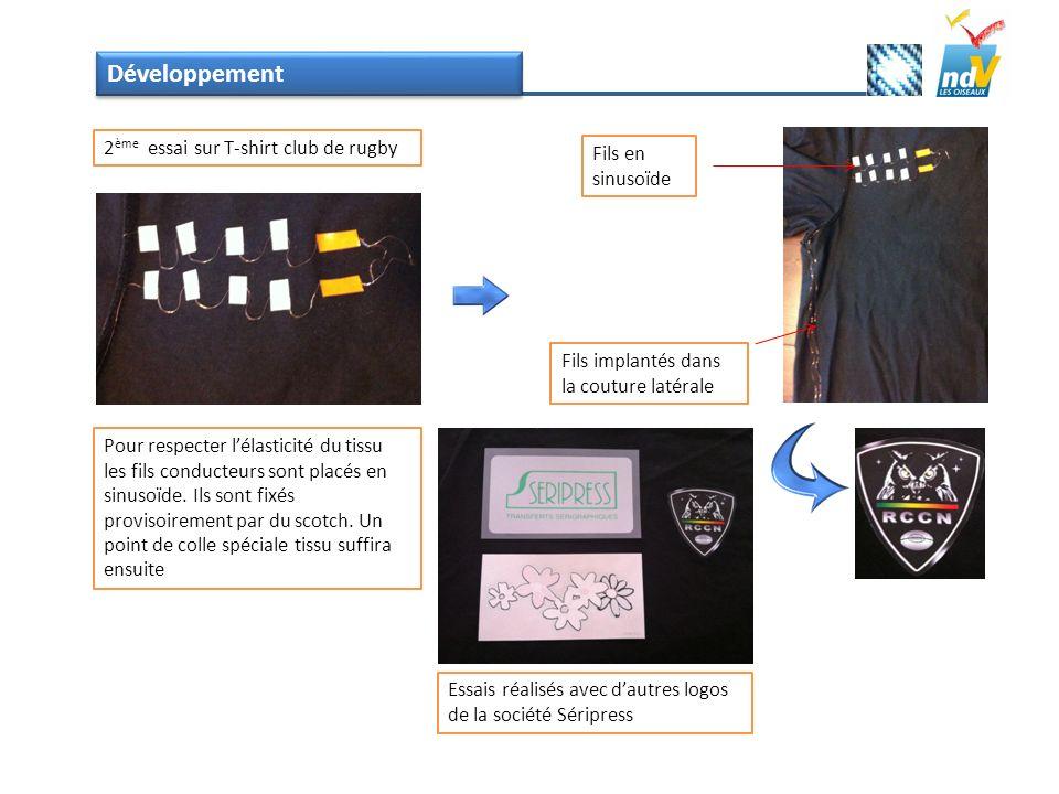 Développement 2ème essai sur T-shirt club de rugby Fils en sinusoïde