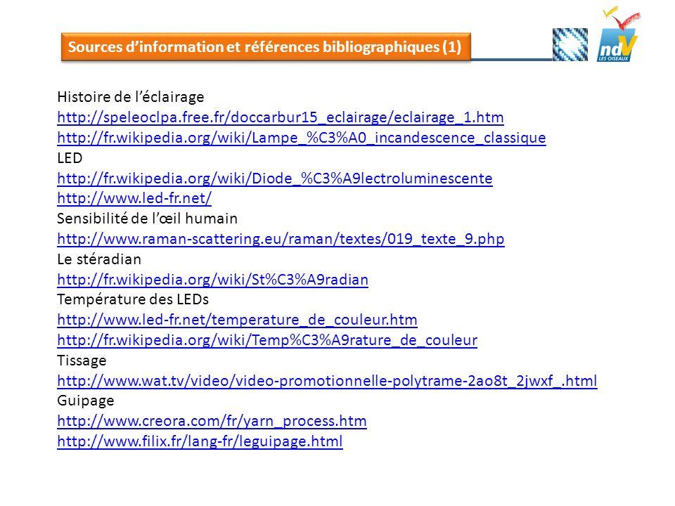 Sources d'information et références bibliographiques (1)
