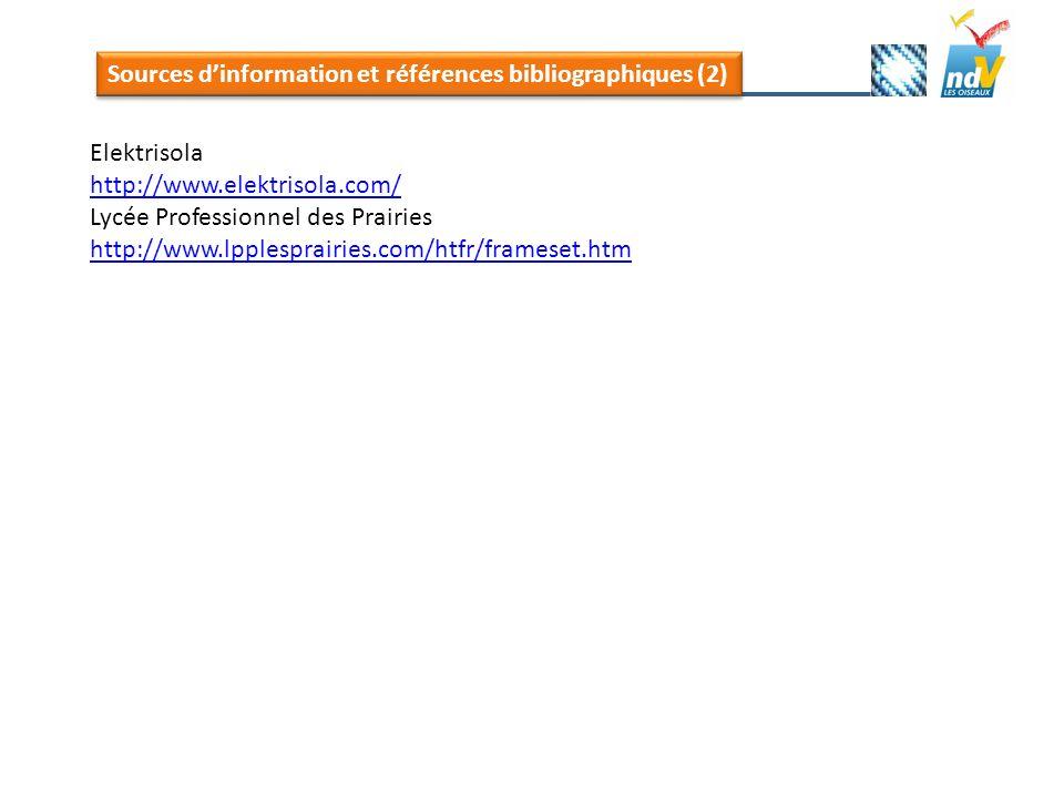 Sources d'information et références bibliographiques (2)