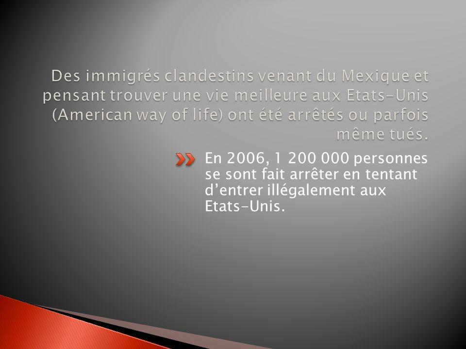 Des immigrés clandestins venant du Mexique et pensant trouver une vie meilleure aux Etats-Unis (American way of life) ont été arrêtés ou parfois même tués.