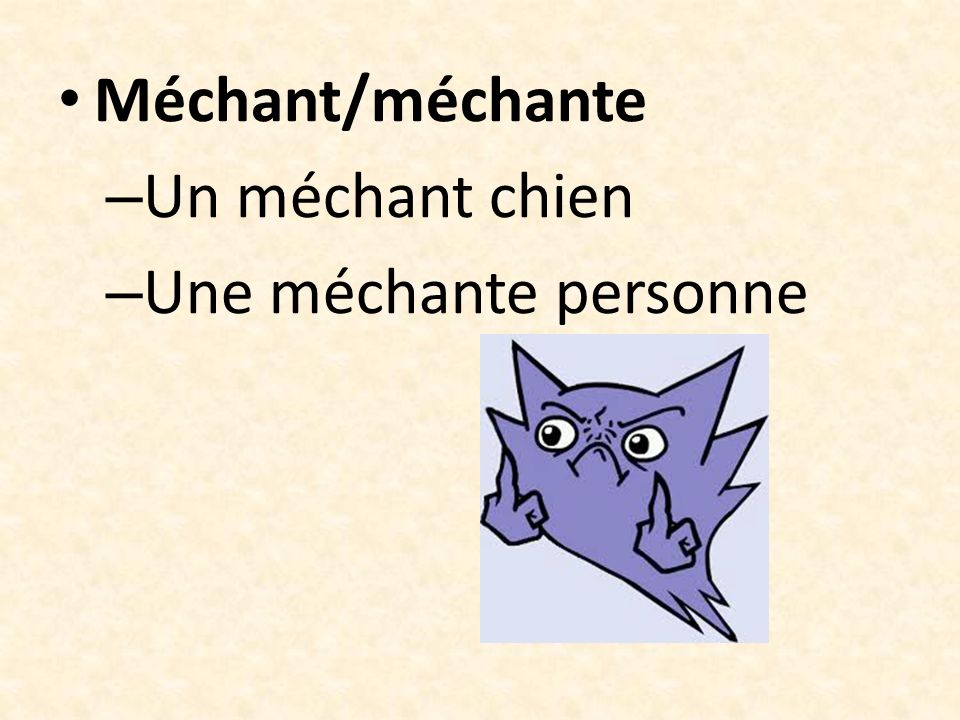 Méchant/méchante Un méchant chien Une méchante personne