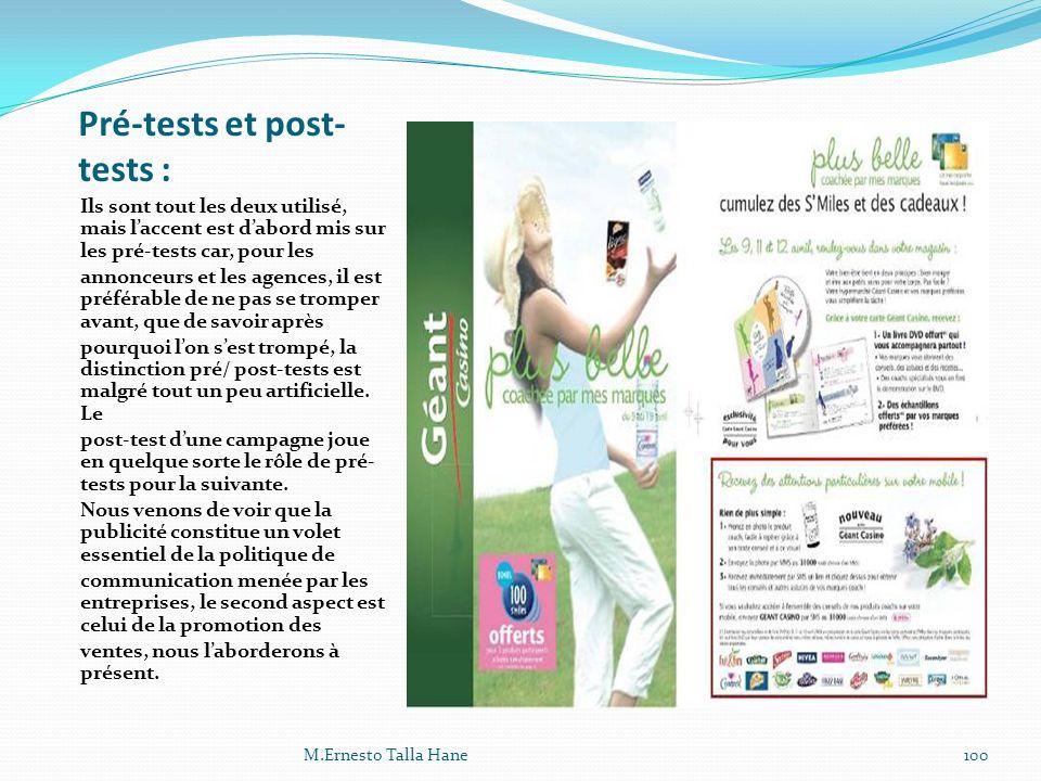 Pré-tests et post-tests :