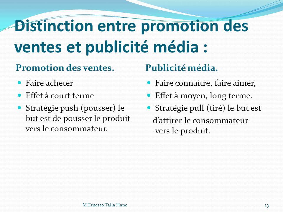 Distinction entre promotion des ventes et publicité média :
