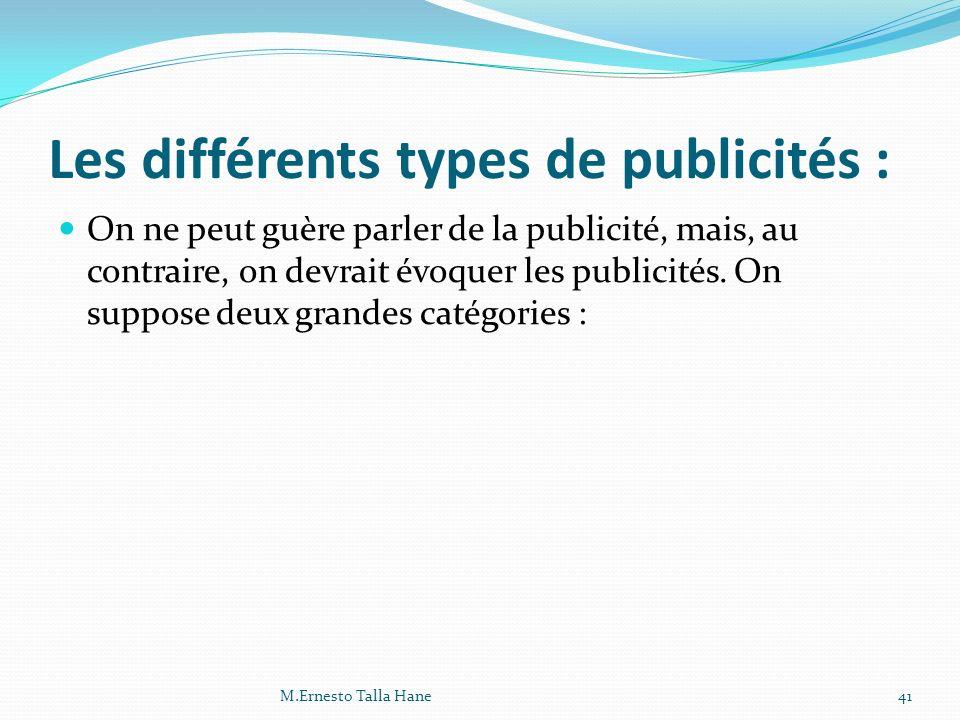 Les différents types de publicités :