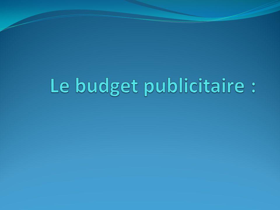 Le budget publicitaire :