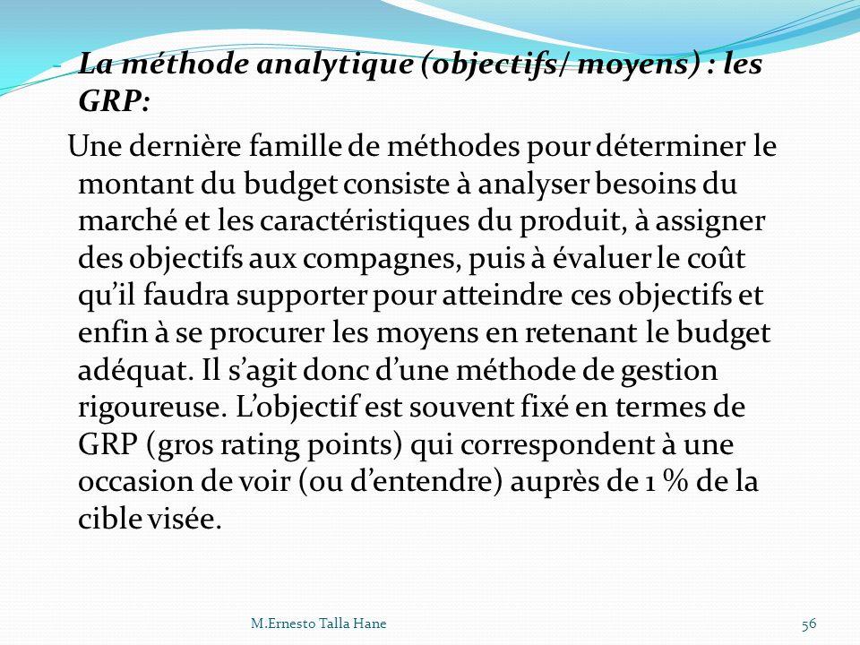 La méthode analytique (objectifs/ moyens) : les GRP: