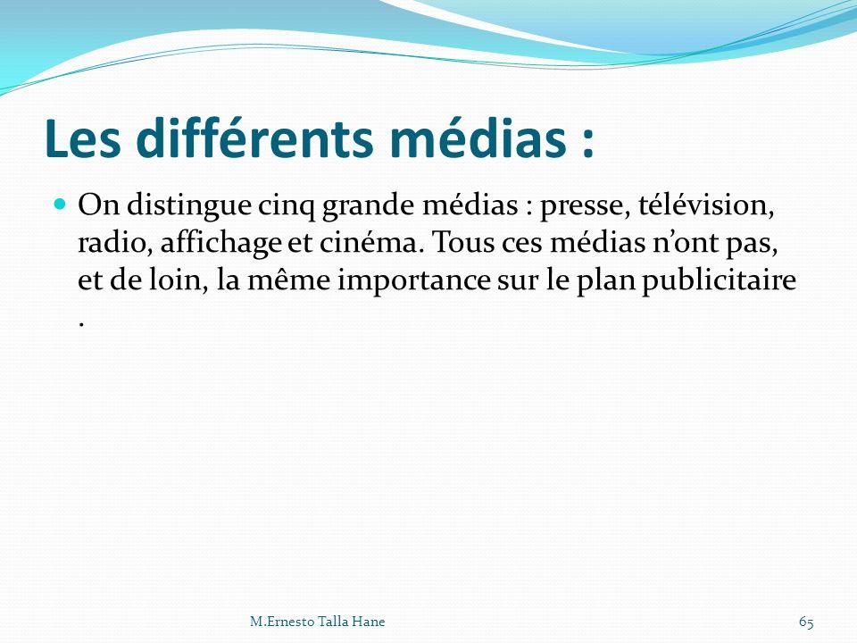 Les différents médias :