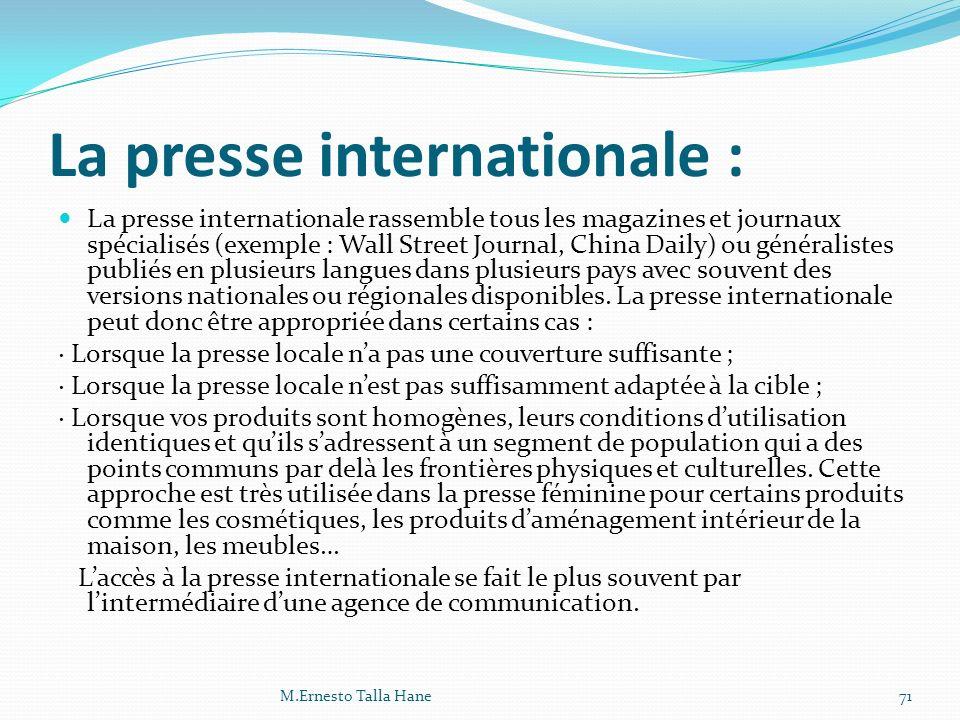 La presse internationale :