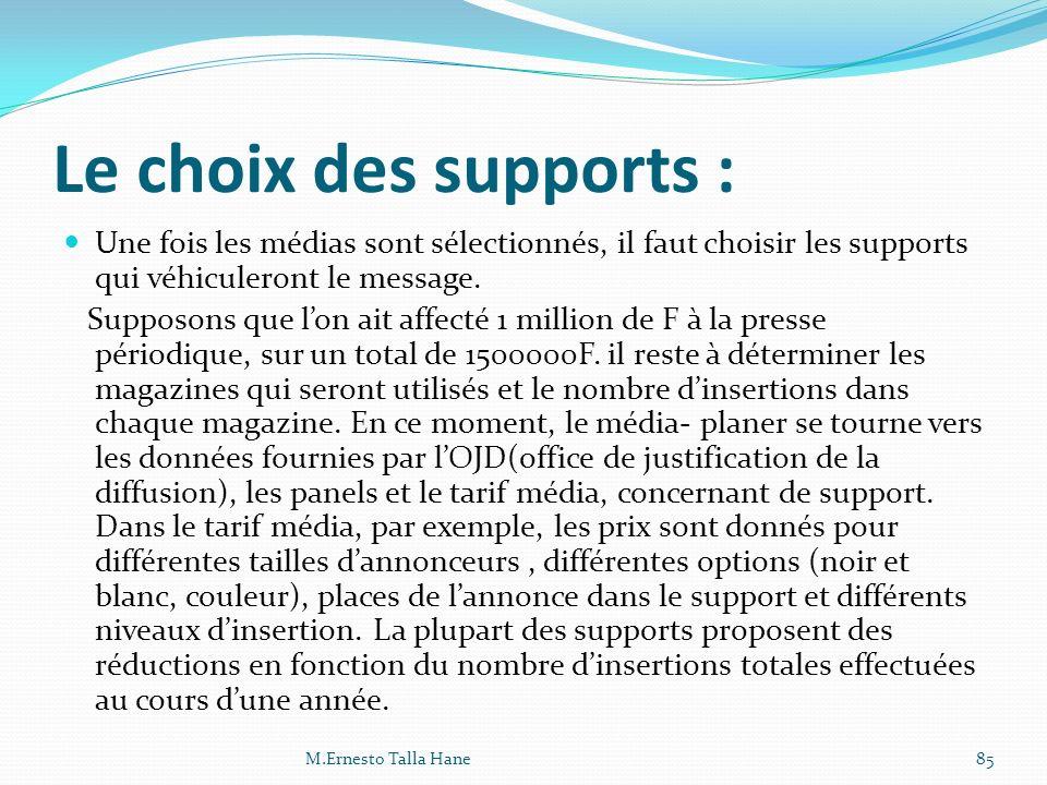 Le choix des supports : Une fois les médias sont sélectionnés, il faut choisir les supports qui véhiculeront le message.