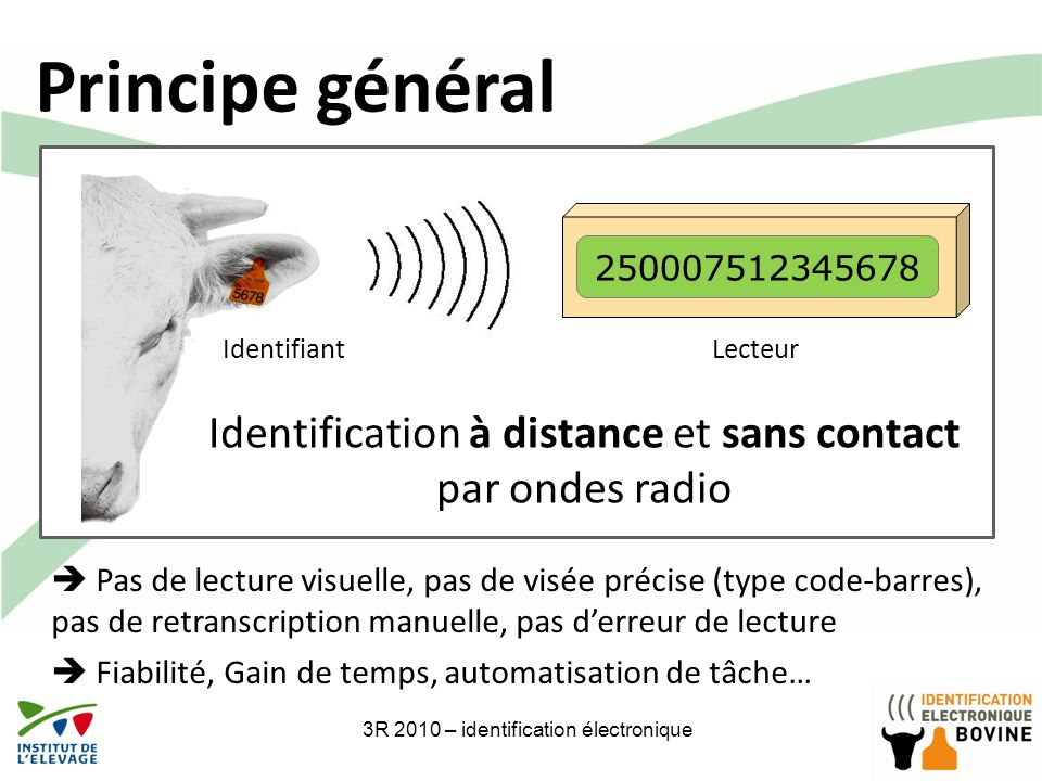 Principe général 250007512345678. Identifiant. Lecteur. Identification à distance et sans contact par ondes radio.
