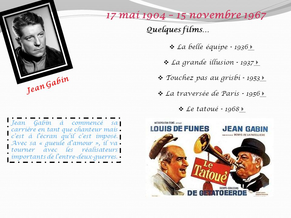 17 mai 1904 – 15 novembre 1967 Quelques films… Jean Gabin