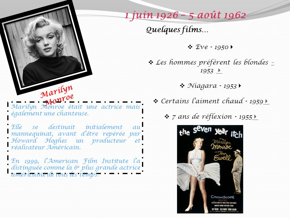 1 juin 1926 – 5 août 1962 Quelques films… Marilyn Monroe Eve - 1950
