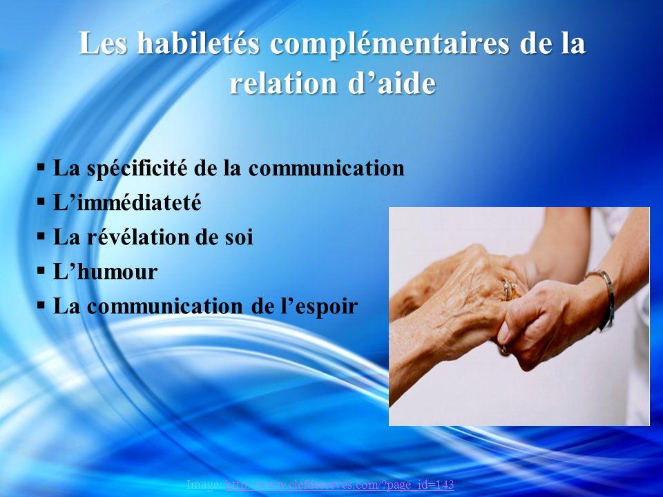 Les habiletés complémentaires de la relation d'aide