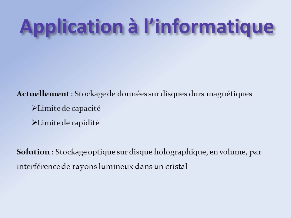 Application à l'informatique