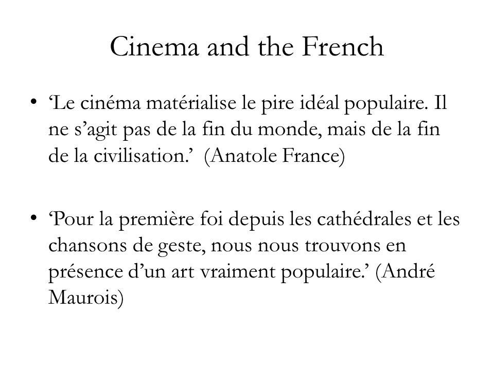 Cinema and the French