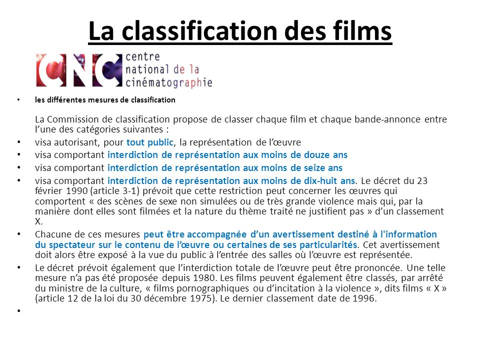 La classification des films