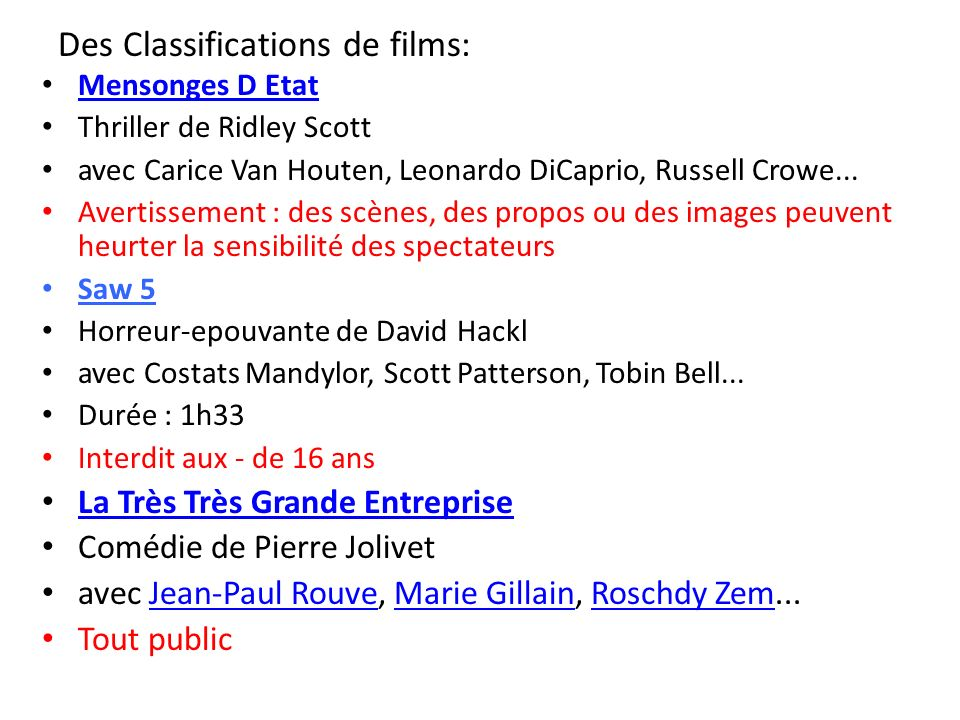 Des Classifications de films: