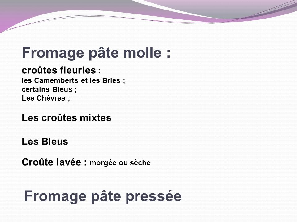 Fromage pâte molle : Fromage pâte pressée croûtes fleuries :
