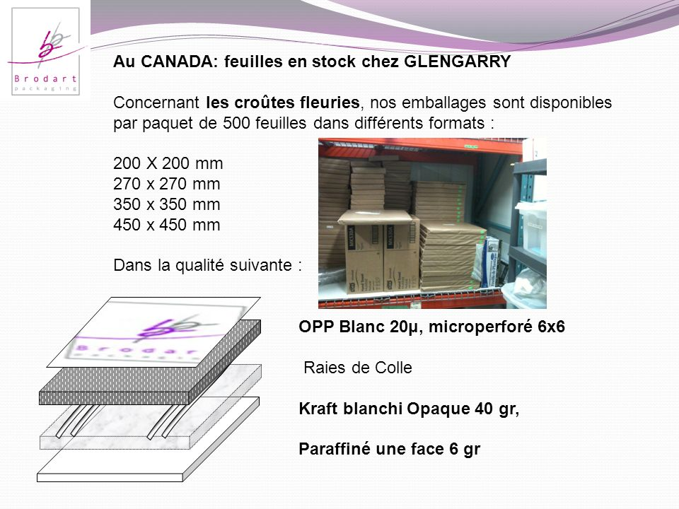 Au CANADA: feuilles en stock chez GLENGARRY