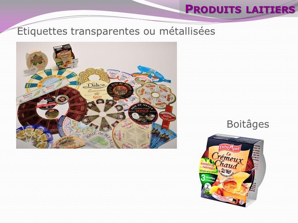 Produits laitiers Etiquettes transparentes ou métallisées Boitâges
