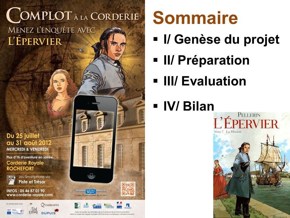 Sommaire I/ Genèse du projet II/ Préparation III/ Evaluation IV/ Bilan