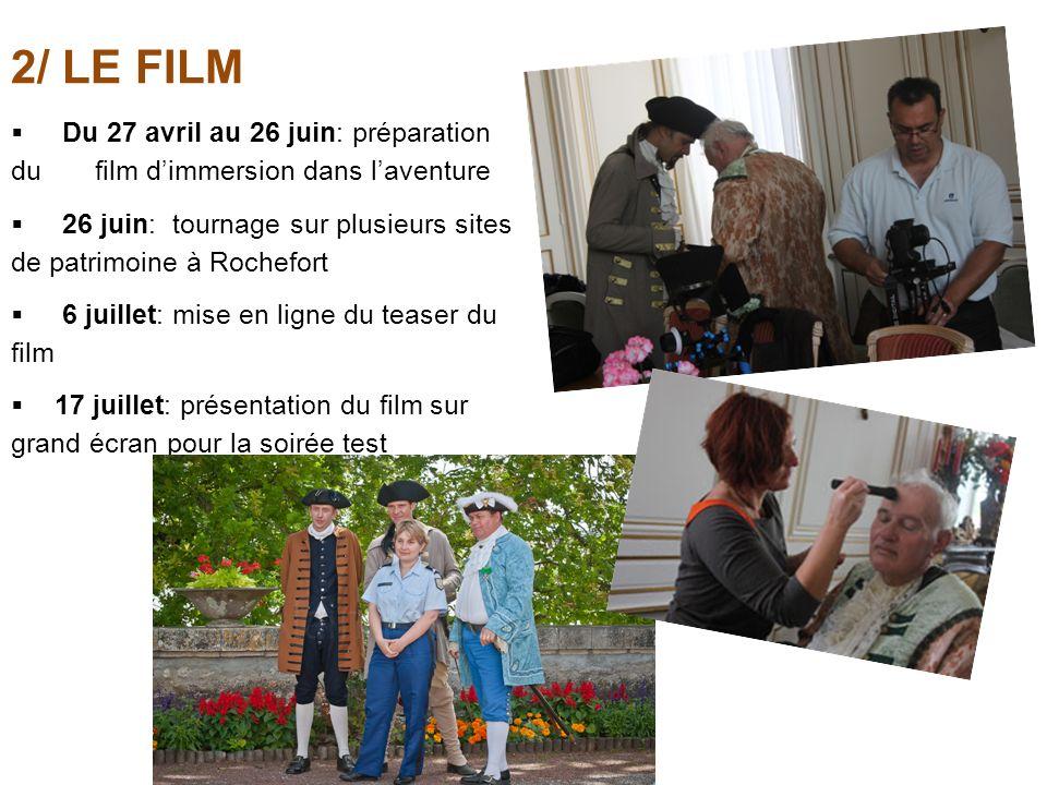 2/ LE FILM Du 27 avril au 26 juin: préparation du film d'immersion dans l'aventure.