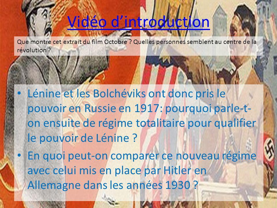 Vidéo d'introduction Que montre cet extrait du film Octobre Quelles personnes semblent au centre de la révolution