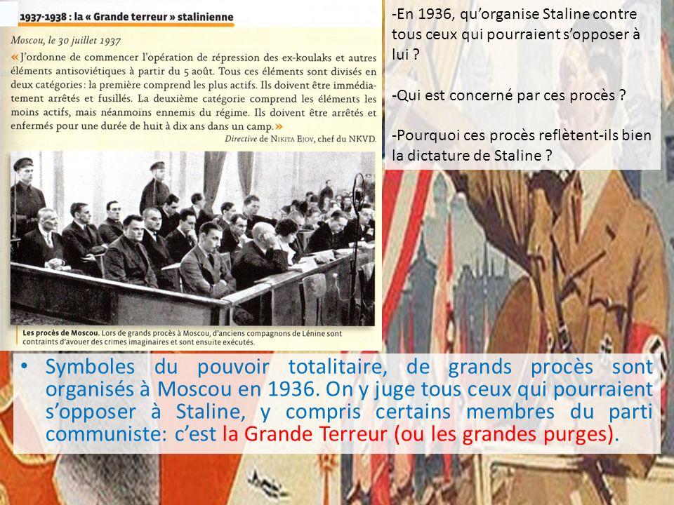 -En 1936, qu'organise Staline contre tous ceux qui pourraient s'opposer à lui