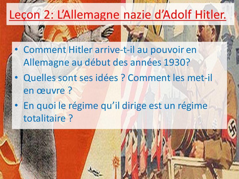 Leçon 2: L'Allemagne nazie d'Adolf Hitler.