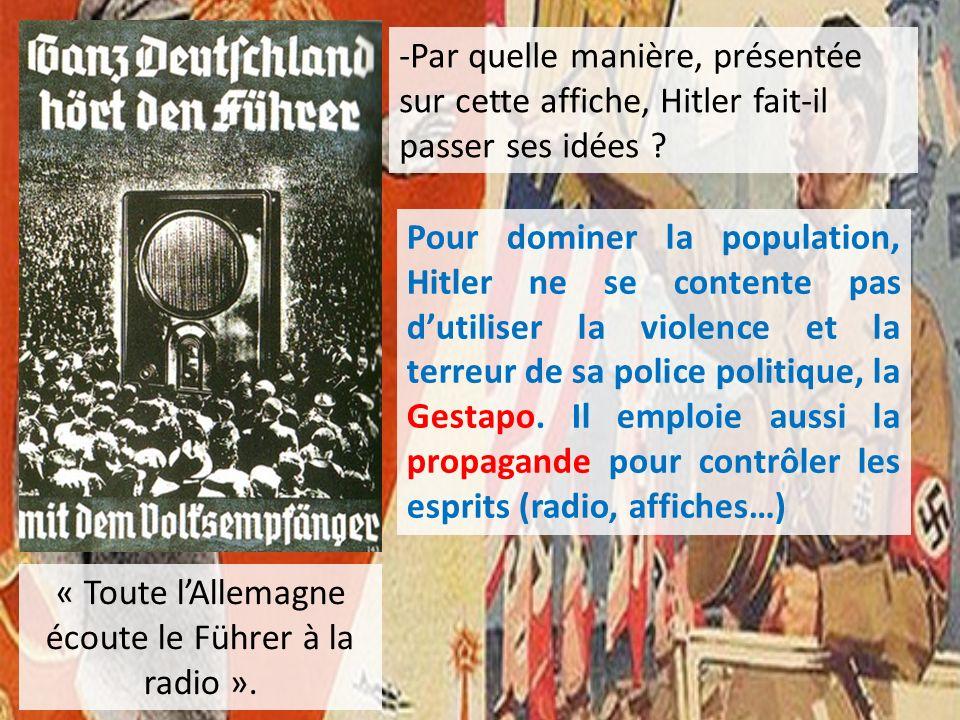 « Toute l'Allemagne écoute le Führer à la radio ».