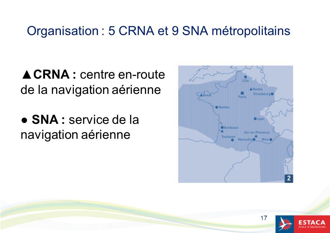 Organisation : 5 CRNA et 9 SNA métropolitains