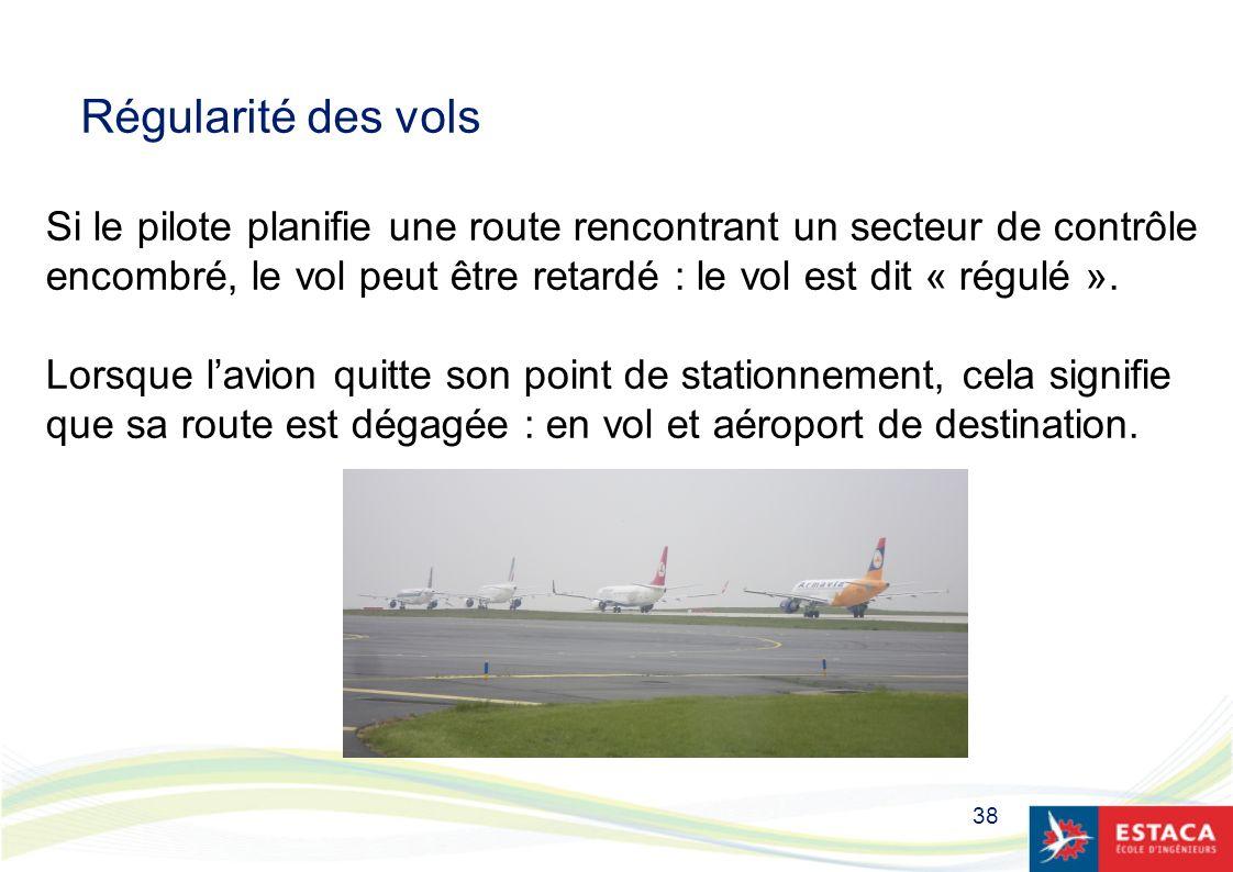 Régularité des vols Si le pilote planifie une route rencontrant un secteur de contrôle.