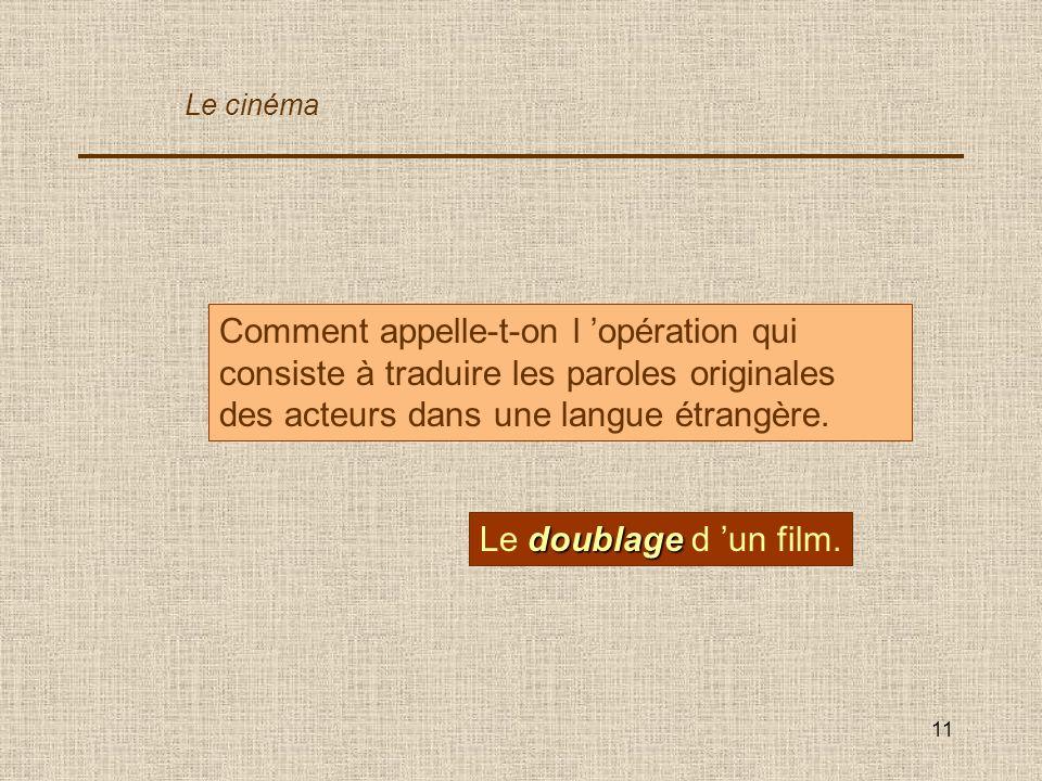 Le cinéma Comment appelle-t-on l 'opération qui consiste à traduire les paroles originales des acteurs dans une langue étrangère.