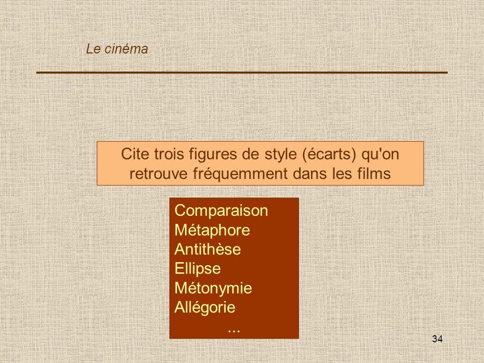 Le cinéma Cite trois figures de style (écarts) qu on retrouve fréquemment dans les films. Comparaison.