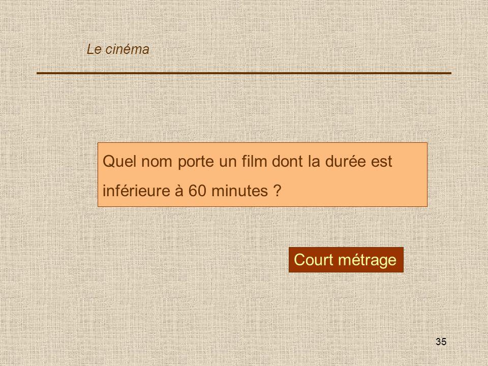 Quel nom porte un film dont la durée est inférieure à 60 minutes