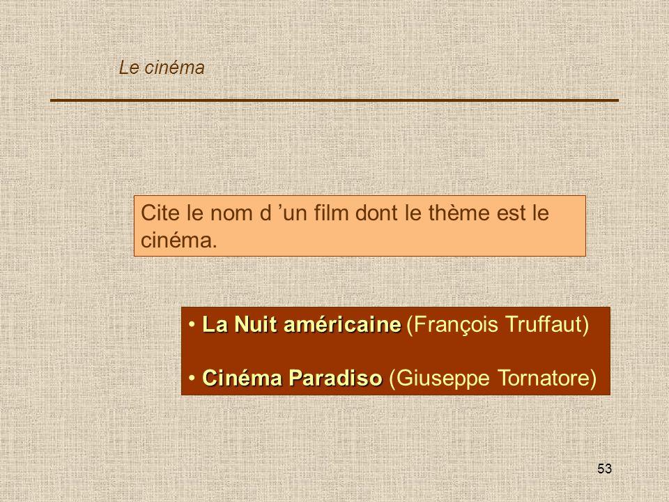 Cite le nom d 'un film dont le thème est le cinéma.
