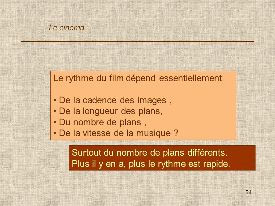 Le rythme du film dépend essentiellement De la cadence des images ,