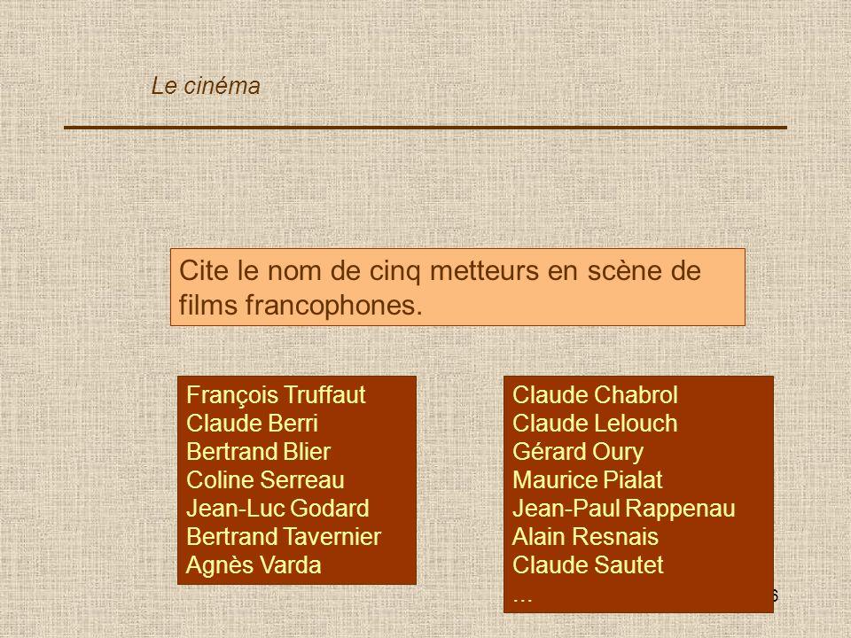 Cite le nom de cinq metteurs en scène de films francophones.