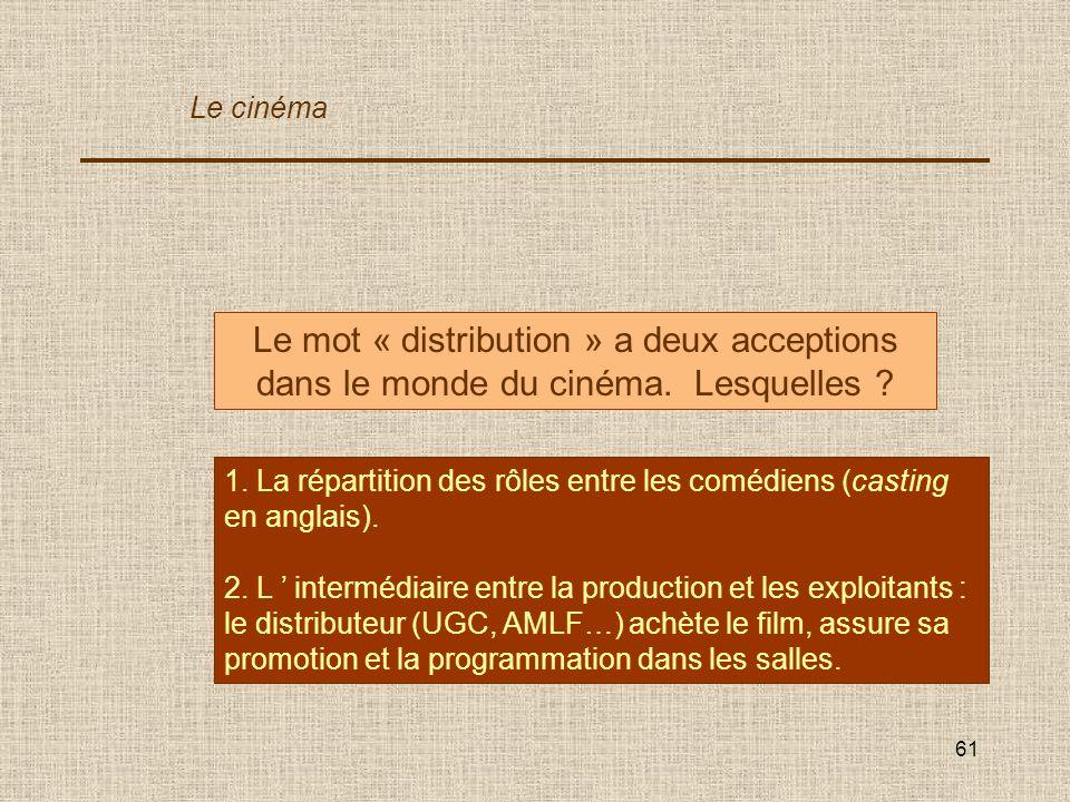 Le cinéma Le mot « distribution » a deux acceptions dans le monde du cinéma. Lesquelles