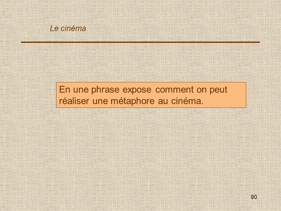 En une phrase expose comment on peut réaliser une métaphore au cinéma.