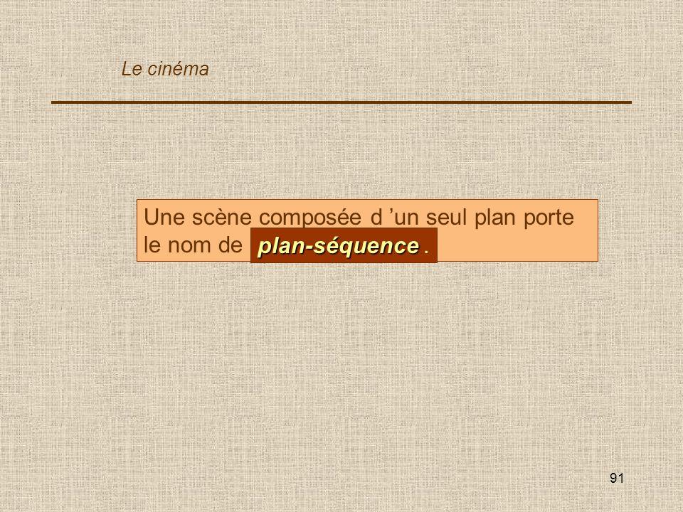 Une scène composée d 'un seul plan porte le nom de ... plan-séquence .