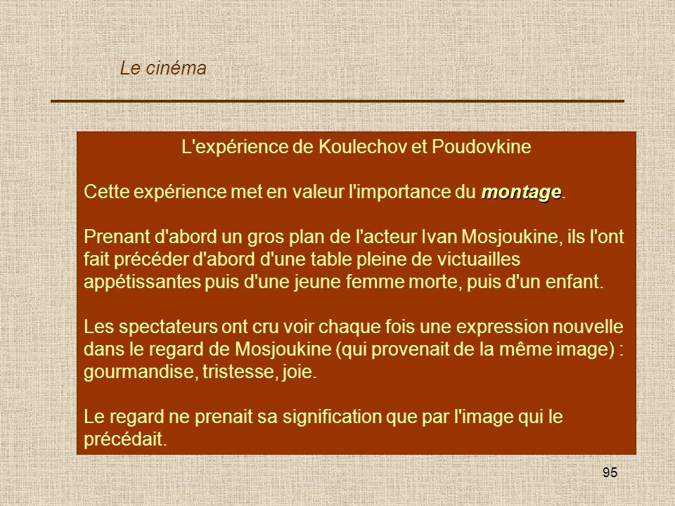 L expérience de Koulechov illustre l importance du montage. V / F