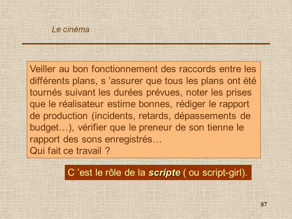 C 'est le rôle de la scripte ( ou script-girl).