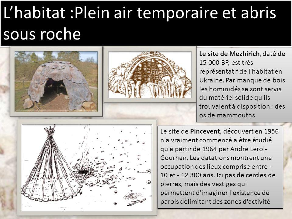 L'habitat :Plein air temporaire et abris sous roche
