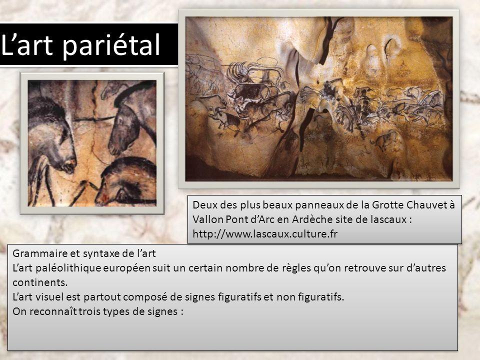 L'art pariétal Deux des plus beaux panneaux de la Grotte Chauvet à Vallon Pont d'Arc en Ardèche site de lascaux : http://www.lascaux.culture.fr.